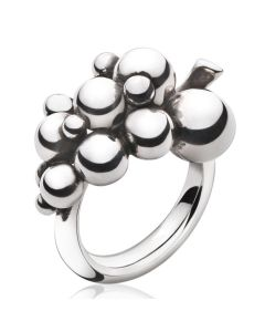 Georg Jensen Moonlight Grapes ring stor i oxideret sterlingsølv