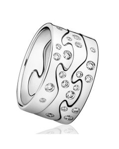 Georg Jensen Fusion ring i 18 karat hvidguld med diamanter 3546060